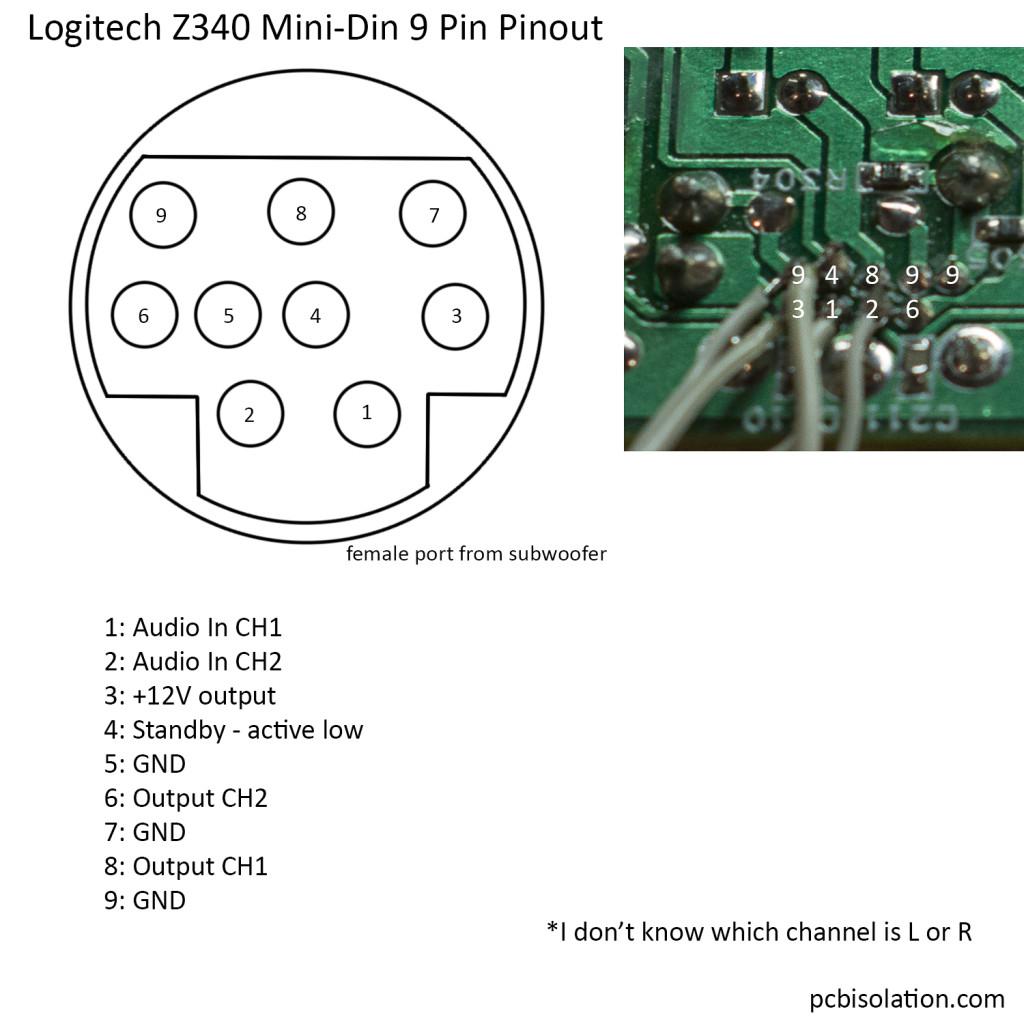 Logitech Z340 Mini Din Pinout