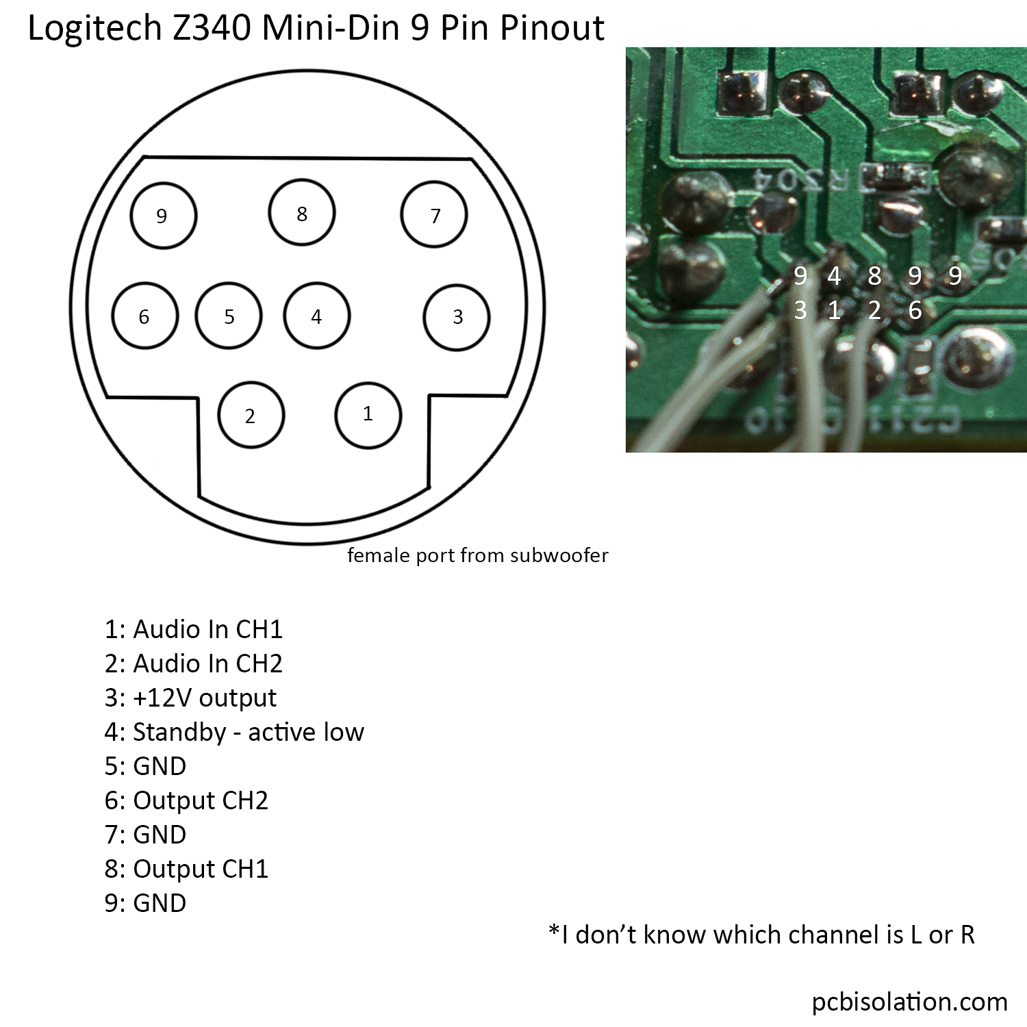 Logitech z340 21 pinout and reuse pcb isolation logitech z340 mini din pinout swarovskicordoba Choice Image