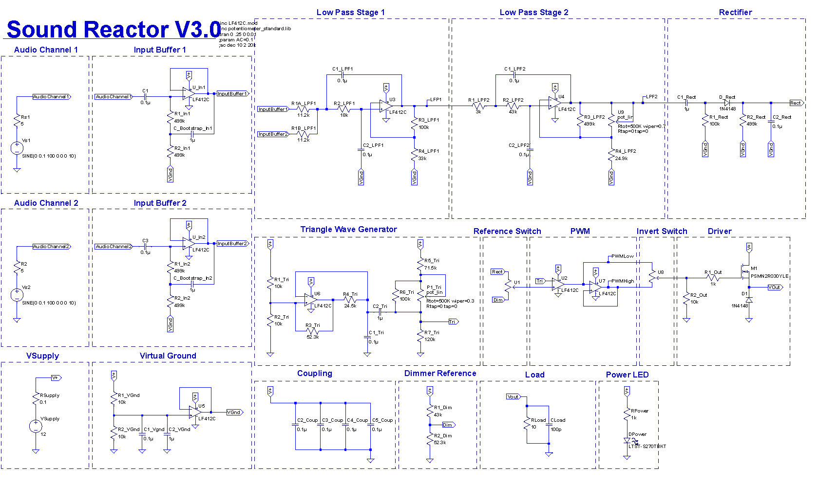 Led Sound Reactor All Analog Approach Pcb Isolation Op Amp Tone Generator Circuit Audio Operational Amplifier This Is Traditionally Done With An Expensive Instrumentation I Opted For A Cheaper And Still Effective Bootstrap Design